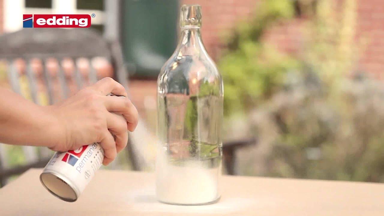 Hervorragend Décorer une bouteille en verre avec les sprays edding - YouTube HZ26