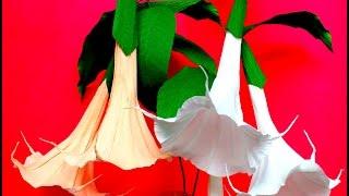 How to make Paper Flowers Brugmansia / Angel Trumpet (flower # 100)