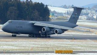 (Live ATC/RARE at ZRH) USAF Lockheed C-5M Super Galaxy landing runway 16
