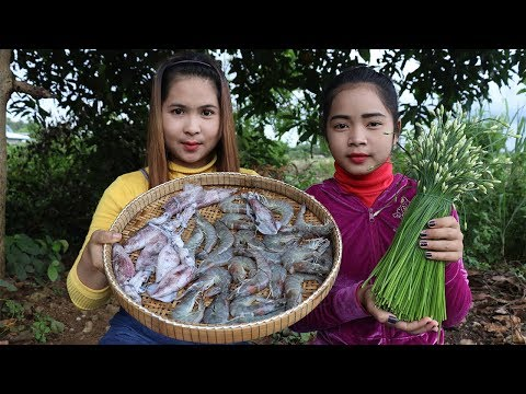 Thumbnail: Awesome Cooking Prawn And Squid W/ Chive Flower Delicious Recipe - Cook Prawns -Village Food Factory