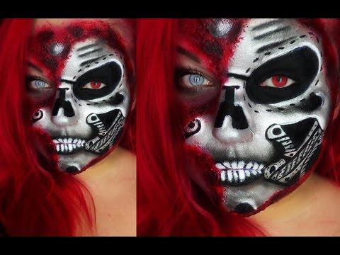 HALF ROBOT (CYBORG) FACE HALLOWEEN / KARNEVAL TUTORIAL Face-painting aqua make up SFX ZOMBIE