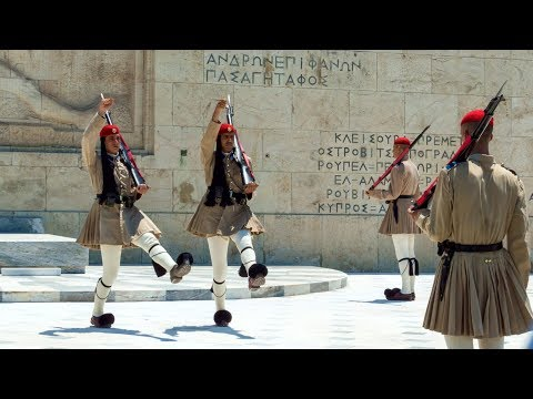 ATHENS: Changing of the Guard - Greek Parliament/Tomb of the Unknown Soldier.