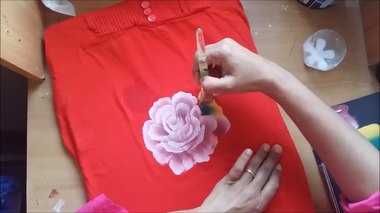 9f30649b4 One Stroke Fabric Painting-Free Hand Floral Design on Fabric - YouTube