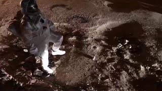 宇宙飛行士が歩いているのは月面、と思ったら… インドで話題に