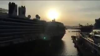 Oosterdam hit sister ship Nieuw Amsterdam in Vancouver, Canada Place