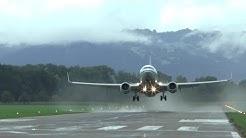 Boeing 737 takeoff on 1,500m short runway at St. Gallen Altenrhein Airport