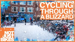 Cycling Through a Blizzard in Amsterdam
