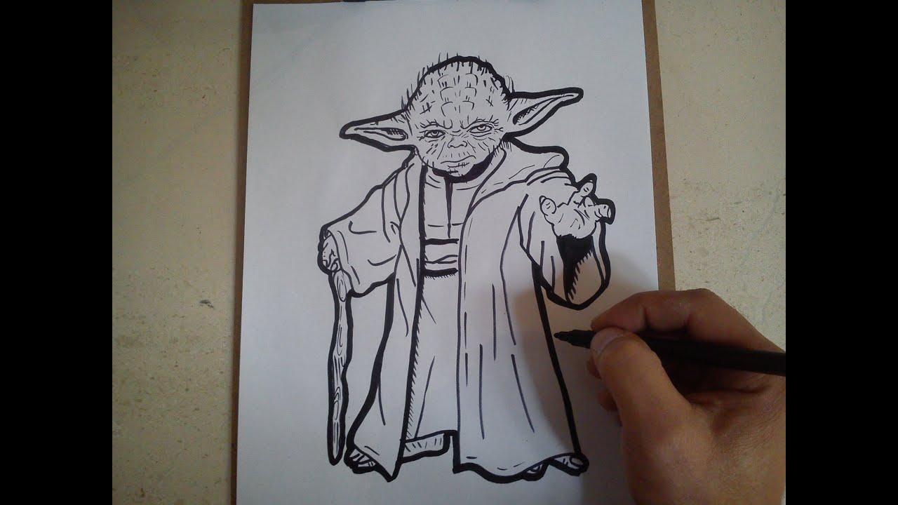 Line Drawing Yoda : Como dibujar a joda de star wars how to draw yoda