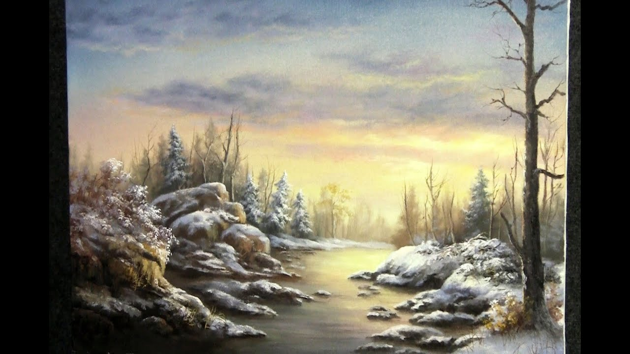 snowy mountain landscape painting. snowy mountain landscape painting i