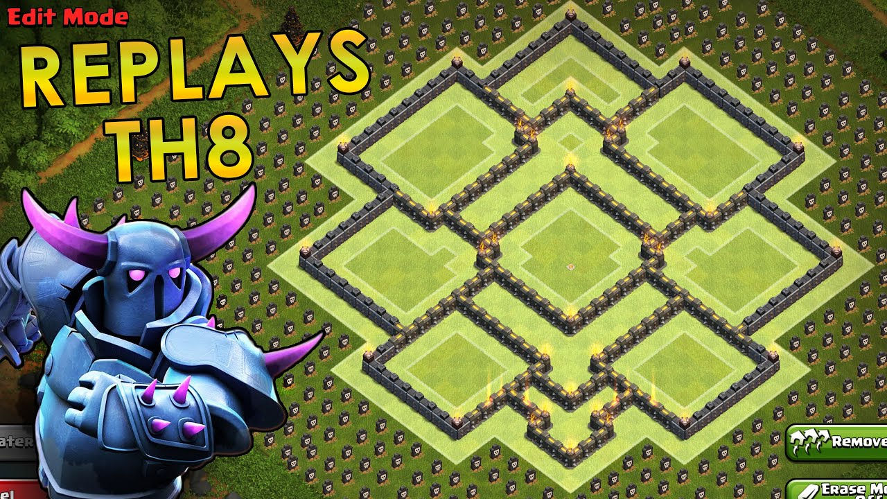 Coc th8 base design - Clash Of Clans Th8 Farming Base Replays All Pekka Gowipe Defenses 2016 Youtube