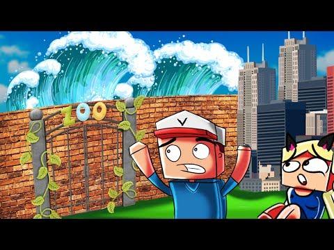ZOO VS TSUNAMI - MINECRAFT TSUNAMI CHALLENGE! | Vito vs Bella