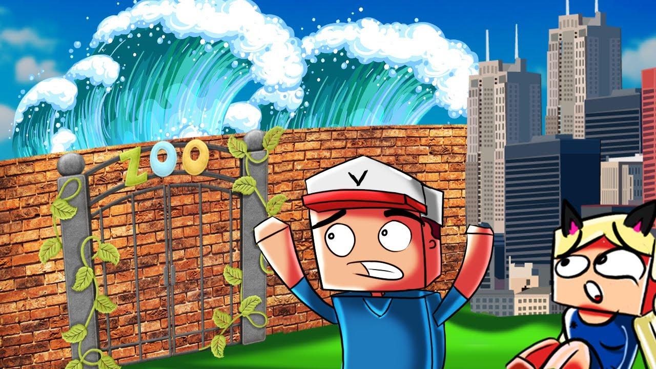 Zoo Vs Tsunami Minecraft Tsunami Challenge Vito Vs Bella Youtube