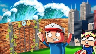 ZOO VS TSUNAMI - MINECRAFT TSUNAMI CHALLENGE! | Vito vs Bella