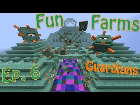 Minecraft 1.9 - Practical Guardian Farming. Quiz and Bushes (Fun Farms Ep. 6)
