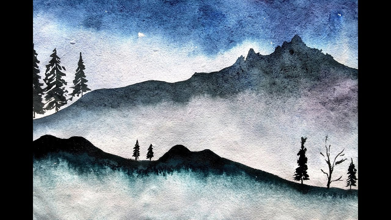 Simple and Easy Mountain Landscape Painting with Watercolor ...