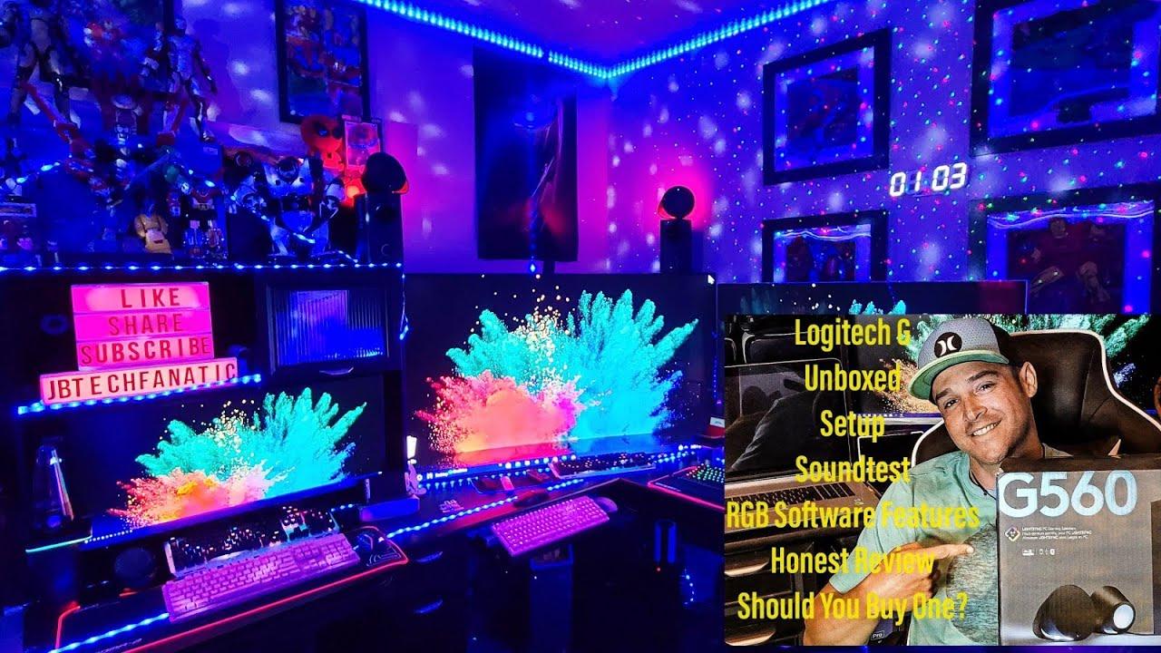 LogiTech G560 LightSync PC RGB Gaming Speakers &Sub Setup Specs Hardware &  Software Honest Review🤩