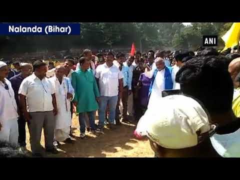Watch: Bihar Minister Shravan Kumar stumbles while kicking football - ANI News