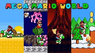 Mega Mario World | Super Mario World ROM Hack (スーパーマリオワールド) (Longplay)