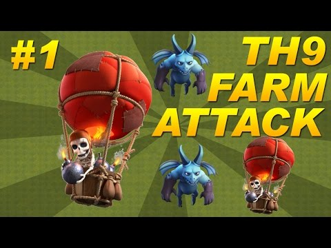 BEST Town Hall 9 (TH9) Farming Attack Strategy -Balloons + Minions (Balloonion) Clash of Clans -Pt 1
