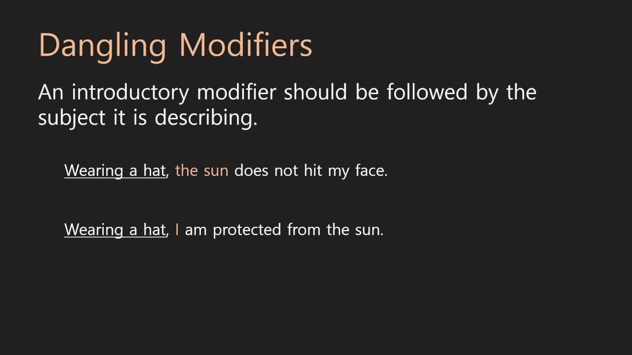 Grammar Lessons Dangling Modifiers