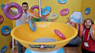 GIANT FRYIN FLYIN DOUNUTS NEW TOY CHALLENGE GAME | Famtastic
