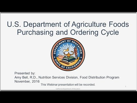 CDE Food Distribution Program: U.S. Department of Agriculture Foods Purchasing and Ordering Cycle