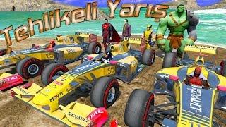 F1 Arabası ile Tehlikeli Yarış Örümcek Adam ve Süper Kahramanlar Çizgi Film İzle