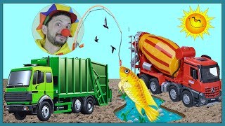 Funny Clown Bob Fish for kids | Construction vehicles Concrete Mixer Garbage Truck Excavator