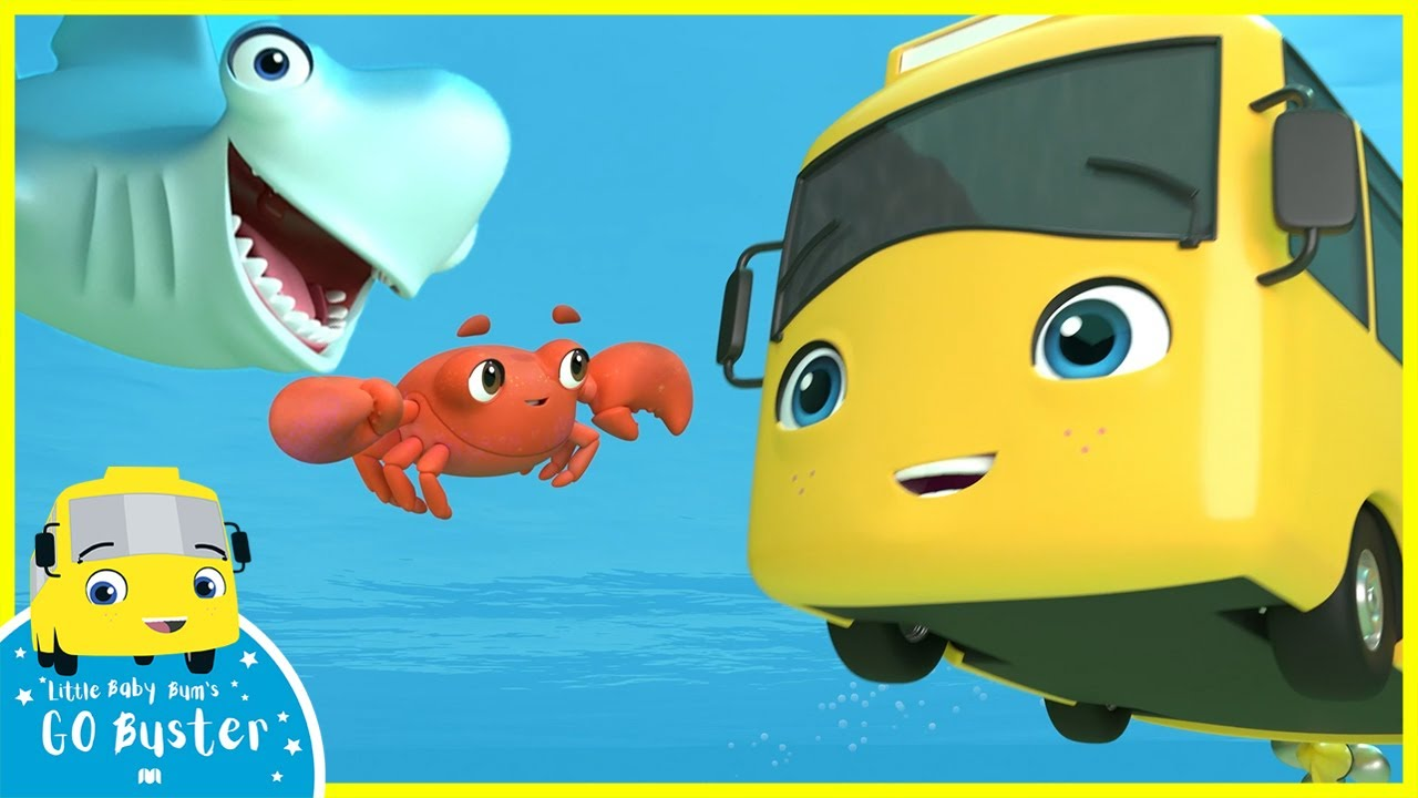 Baby Shark Family - Playing in the Ocean | Go Buster | Baby Cartoons | Kids Videos | ABCs and 123s
