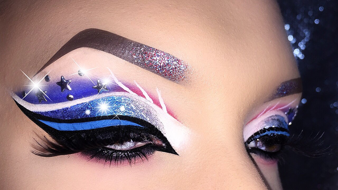4th of july usa flag inspired cut crease makeup tutorial youtube baditri Image collections