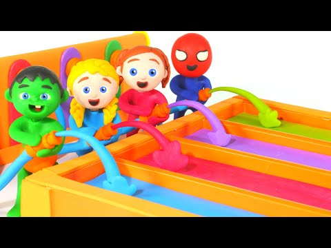Tommy And His Friends Playing With Rainbow Paint Colors 💕Play-Doh Cartoons For Kids