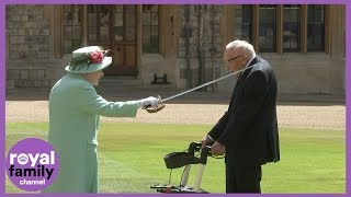 Captain Tom Moore knighted by The Queen During Outdoor Ceremony at Windsor Castle