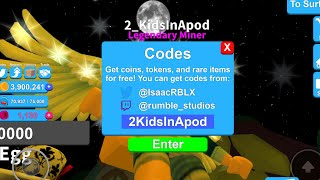 😲 FREE CODES #Roblox Mining Simulator Game by @IsaacRBLX - FREE tokens, Pets, crates and MORE 😜