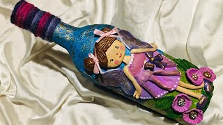 Bottle art with fairy decoration/ Bottle art