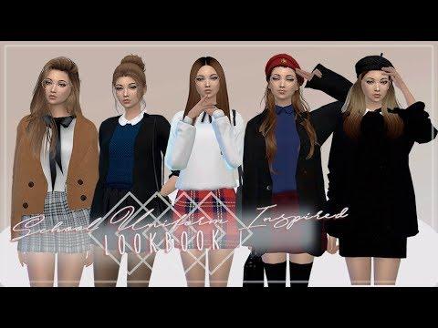 The Sims 4 Cas School Uniform Inspired Lookbook Youtube