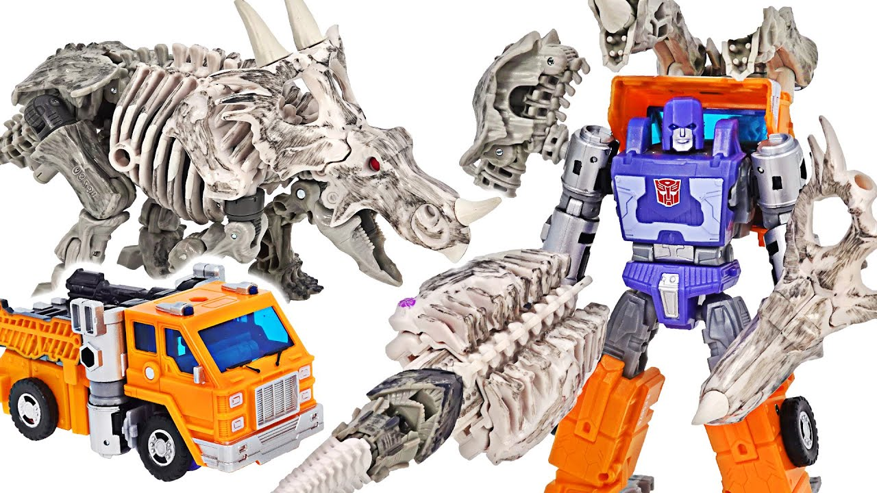 Transformers Kingdom Huffer, Ractonite! Combined transform into truck and dinosaur! | DuDuPopTOY