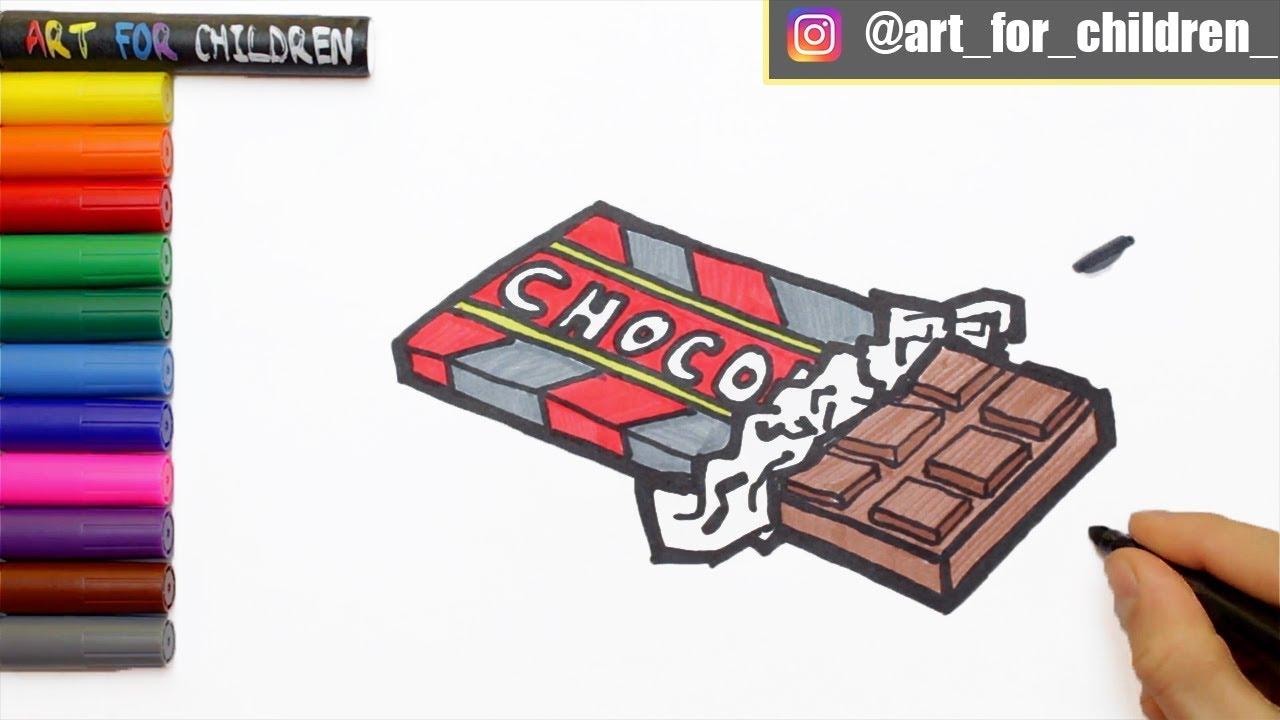 Schokoladen Tafel Zeichnen Ausmalen Fur Kinder Schritt Fur