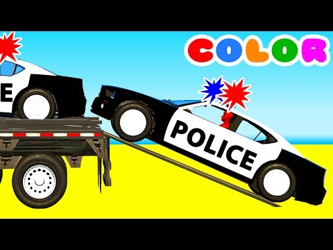 Thumbnail: Color Police Cars on Bus and Spiderman Cartoon for kids w Superheroes for babies!
