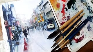 【Seven】Watercolor Paint City Street