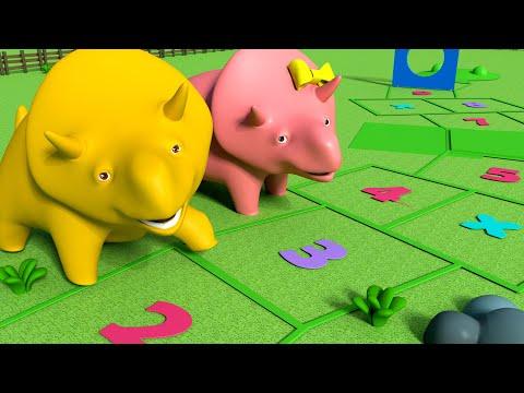 Apprends à compter ! Joue à la MARELLE avec Dino et Dina ! Dino le Dinosaure 👶 Dessin animé