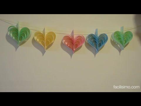 C mo hacer una guirnalda de corazones de papel - Como hacer manualidades de papel ...