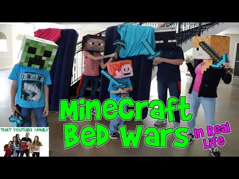 MINECRAFT BED WARS IN REAL LIFE  That YouTub3 Family