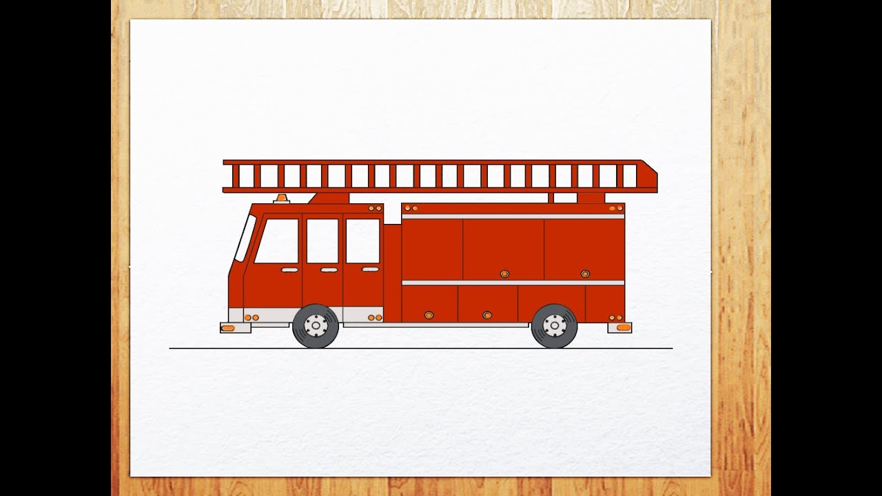 How to draw fire truck - YouTube