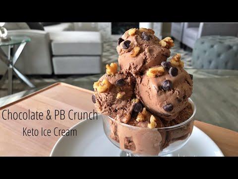 Chocolate and Peanut Butter Crunch Keto Ice Cream