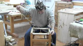 How we build bar stools pt6.  Weaving the seat.