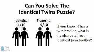 Counter-Intuitive Probability. What's The Chance Twin Brothers Are Identical?