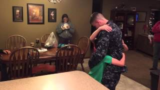Navy sailor surprises his little brothers