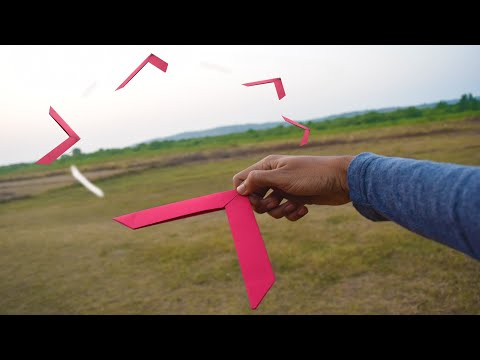 How to make a paper boomerang - paper origami - boomerang