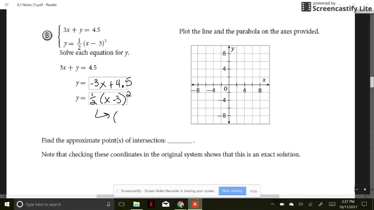 Section 4.3 Part 1 - Solving Linear/Quadratic Systems ...