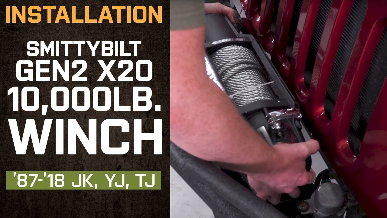 small resolution of install jeep wrangler smittybilt gen2 x2o 10 000 lb winch w wireless control